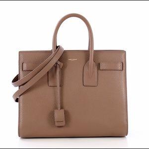 Saint Laurent sac de jour small grained taupe bag